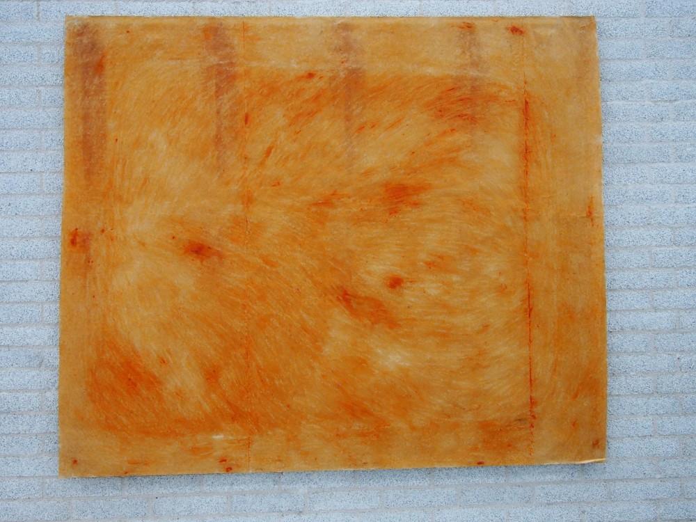 """Boule orange"" de Nicholas POPE - 1981 (Crayon de cire, 195 x 231 cm)."